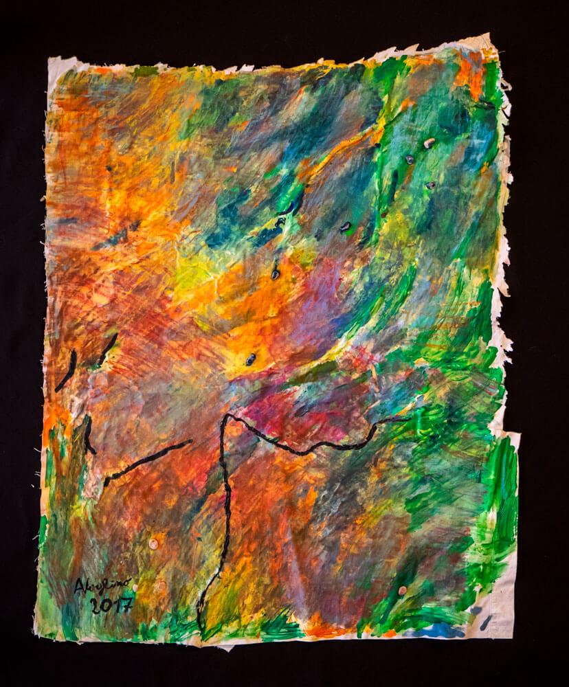 Alice Voglino_La saggezza_2017_acrilici, cere acquerellablii, sassi_cm 101x86,5x1,5