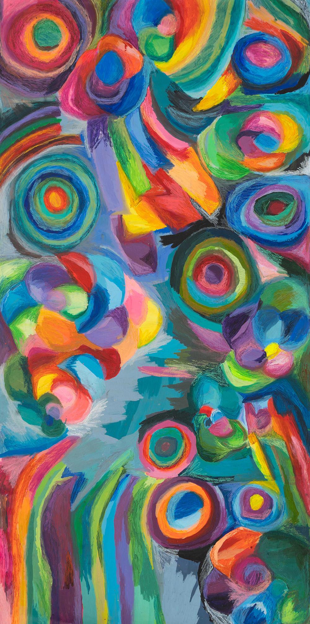 Forme in movimento 2020 - Colori acrilici cere acquerellabili su tela cm 215x104 (al vivo)